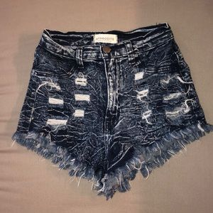 High rise distressed jean shorts